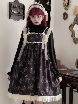 Wendy Bear Square Neckline Print Elegant Lolita Dress JSK by Bunny Magic Forest