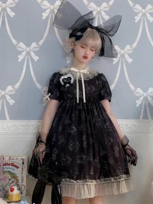 Wendy Bear Ruffled Collar Short Sleeves Print Elegant Lolita Dress OP by Bunny Magic Forest