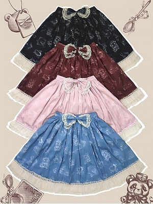 Wendy Bear Print Elegant Lolita Overall Skirt by Bunny Magic Forest