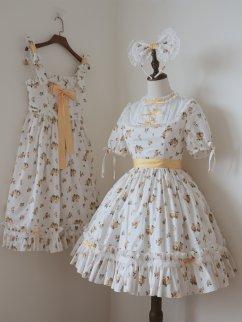 Lomi Mi Garden Yellow Rose Round Neckline Short Sleeves Sweet Lolita Dress OP