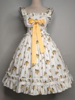 Lomi Mi Garden Yellow Rose Empire Waist Sweet Lolita Dress JSK
