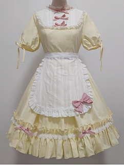 Lomi Mi Garden Creamy Yellow Round Neckline Short Sleeves Sweet Lolita Dress OP
