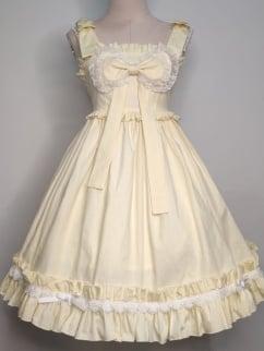 Lomi Mi Garden Creamy Yellow Empire Waist Sweet Lolita Dress JSK