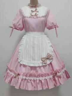 Lomi Mi Garden Creamy Pink Round Neckline Short Sleeves Sweet Lolita Dress OP