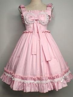 Lomi Mi Garden Creamy Pink Empire Waist Sweet Lolita Dress JSK