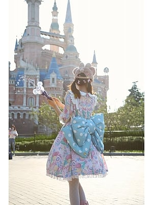 Sax Baby Blue and White Polka Dots Bowknot Design 3 Sizes Lolita Backpack
