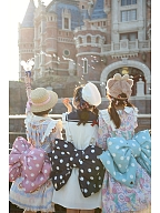 Pink and White Polka Dots Bowknot Design 3 Size Options Lolita Backpack