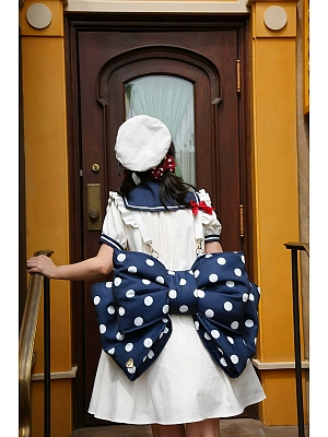 Navy Blue and White Polka Dots Bowknot Design 3 Different Size Options Lolita Backpack