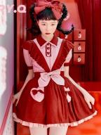 Strawberry Pie Turndown Collar Short Sleeves Top / Skirt Set by Berry Q