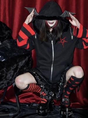 Gothic Vampire Bat Punk Print Plus Velvet Hooded Sweatshirt by Blood Supply