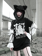 Punk Gothic Print Chiffon Puff Sleeve Cat Ears Hoodie by Blood Supply