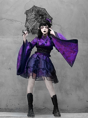 Purple Butterfly Dream Gothic Punk Over-sized Drop Sleeves Kimono Full Set by Blood Supply