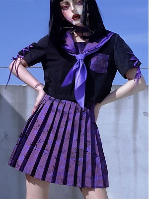 Purple Butterfly Disappearance Bad Girls JK Uniform Full Set by Blood Supply