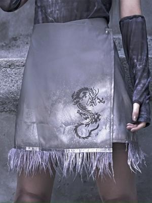 Cyberpunk 3M Reflective Sheet Dragon Pattern Embroidery Short Skirt  by Blood Supply