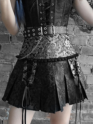 Gothic Dragon High Waist Mini Pleated Skirt  by Blood Supply