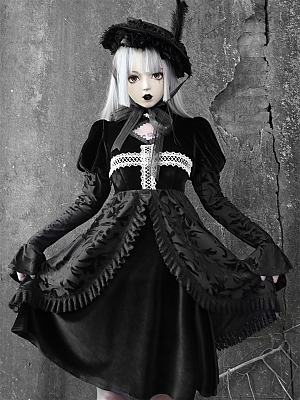 Gothic Velvet Lace Stitching Puff Sleeve Long Dress by Blood Supply