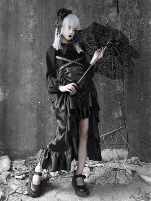 Gothic PU Satin Drawstring Two-piece Dress Full Set by Blood Supply