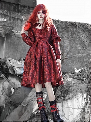 Blood Spread Gothic Bloody Red Rose Disc Buckle Dress by Blood Supply