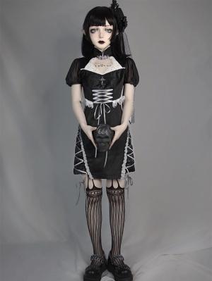 Dark Feast Gothic Lace Disc Buckle Cheongsam Dress by Blood Supply