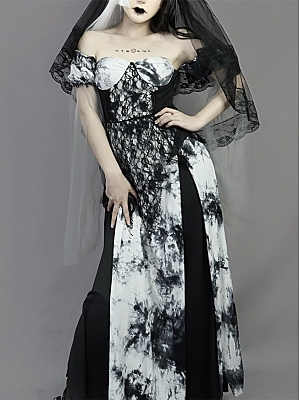 Requiem Palace Tie-dye Gothic Flowing Sleeve Dress Full Set by Blood Supply