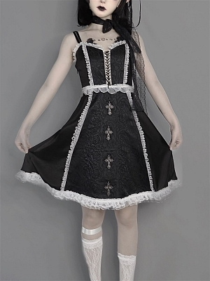 Dark Feast Gothic Lace Cross Pattern Cami Dress by Blood Supply