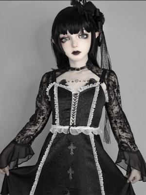 Dark Feast Gothic Long Sleeves Lace Shrug Bolero Blood Supply
