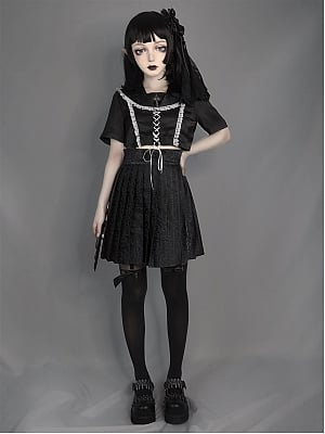 Dark Feast Gothic Lace Sailor Uniform Full Set by Blood Supply