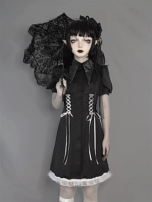 Dark Feast Gothic Lace-up Waist Short Puff Sleeves Dress by Blood Supply