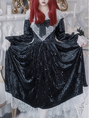 Nocturnal Abbey Gothic Velvet Lace Long Sleeves Dress by Blood Supply