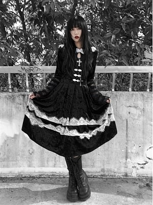 Nocturnal Abbey Gothic Velvet Lace Navy Collar Long Dress by Blood Supply
