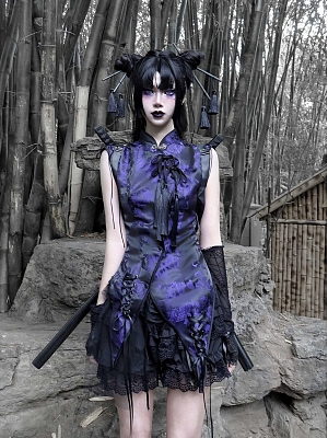Gothic Jacquard Cheongsam Style Irregular Top by Blood Supply