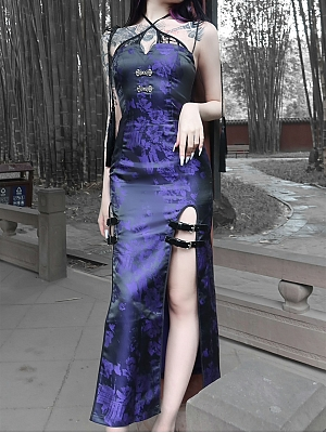 Gothic Double Slit Jacquard Cheongsam Long Dress by Blood Supply