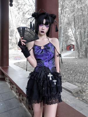 Gothic Jacquard Metal Loop Halterneck Cami Top by Blood Supply