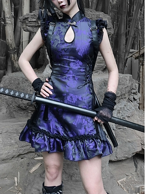 Gothic Bandage Jacquard Cheongsam Style Mini Dress by Blood Supply