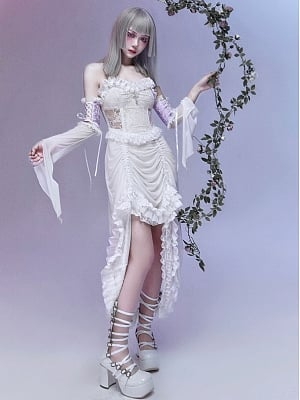 God's Salvation Gothic Sweetheart Neckline Strapless Drawstring Lace Dress with Lace Flowy Sleeves by Blood Supply