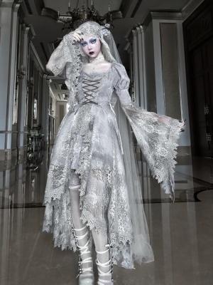 Rose Funeral Gothic Square Neckline Trumpet Sleeves Detachable Lace Hem  Dress / Veil Set
