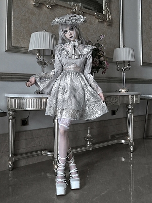 Rose Funeral Gothic High Neck Trumpet Sleeves Lace Hollow Dress