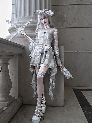 Rose Funeral Gothic Elastic Waist Jacquard Tiered Skirt