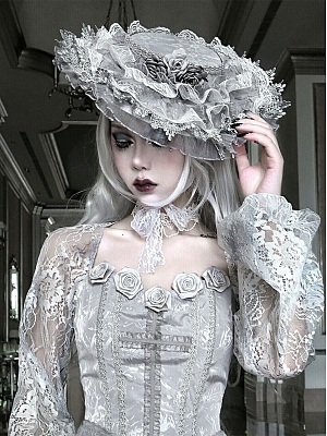 Rose Funeral Gothic Lolita Lace Hat