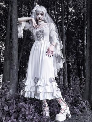 Sad Bride Halloween Gothic V-neck Flowy Sleeves Satin Dress