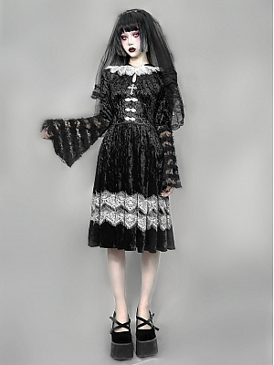 Nocturnal Monastery Gothic Navy Collar Flowy Sleeves Diamond Velvet Lace Dress