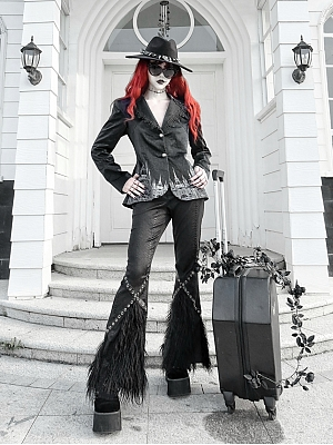 Night Interview with Vampires Gothic Lapel Collar Long Sleeves Print Jacket