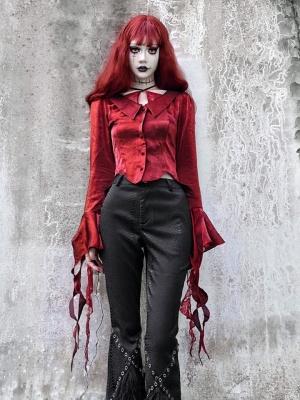 Night Interview with Vampires Gothic Trumpet Sleeves Halter Self-tie Top