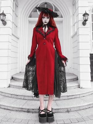 Night Interview with Vampires Gothic Lapel Collar Long Sleevs Velvet Coat