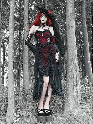 Night Interview with Vampires Gothic Drawstring Lace Cami Dress / Wristcuffs Set