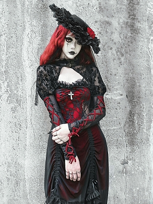 Night Interview with Vampires Gothic Stand Collar Puff Sleeves Flocking Cropped Jacket
