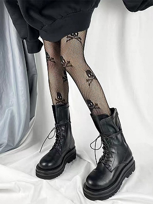 Gothic Punk Sexy Skull Mesh Tights by Blood X