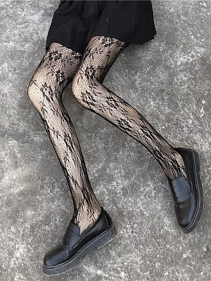 Gothic Lace Rose Fishnet Tights by Blood X