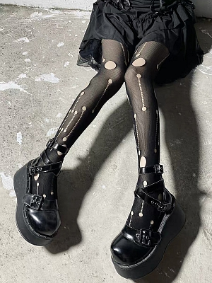 Gothic Punk Hot Girl Rock Broken Hole Tights by Blood X