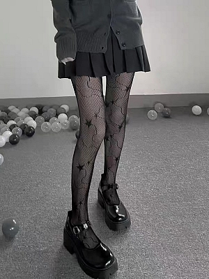 Gothic Hot Girl Star Mesh Tights by Blood X